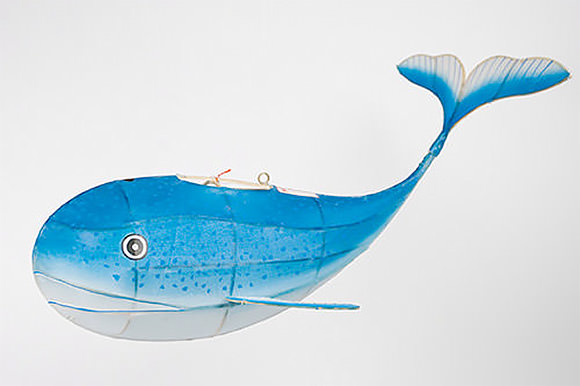 Hand-Painted Silk and Bamboo Whale by Petit Pan
