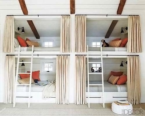 built-in bunk beds in ranch bunk room
