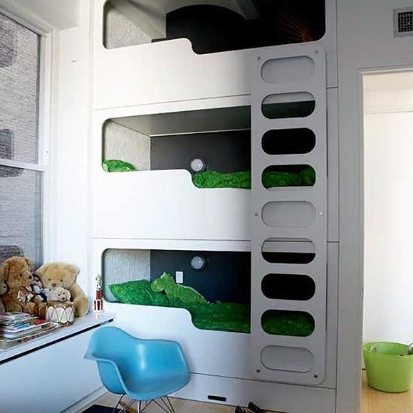 Modern Triple Bunk Beds In A Tribeca Family Loft