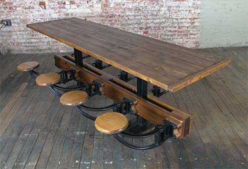 Vintage Industrial Table Handmade Charlotte
