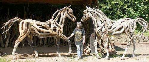 Artist Heather Jansch Driftwood Sculptures