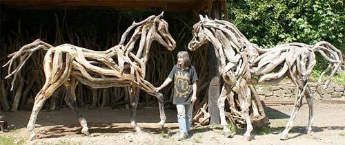 Artist Heather Jansch Driftwood Sculptures