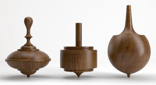 Herman Miller Select Walnut Spinning Tops Wooden Toys