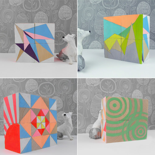 Geometric Neon Art Blocks from SketchInc on Etsy
