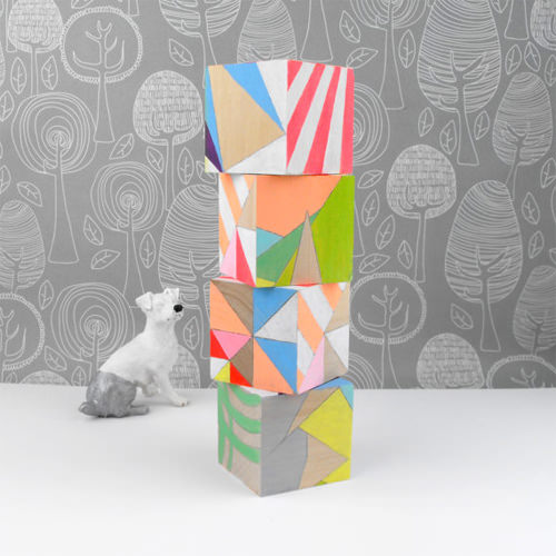Geometric Neon Art Blocks from SketchInc on Etsy