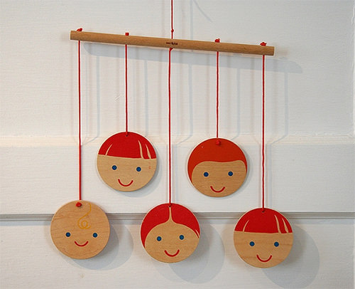 hand-painted wooden mobile