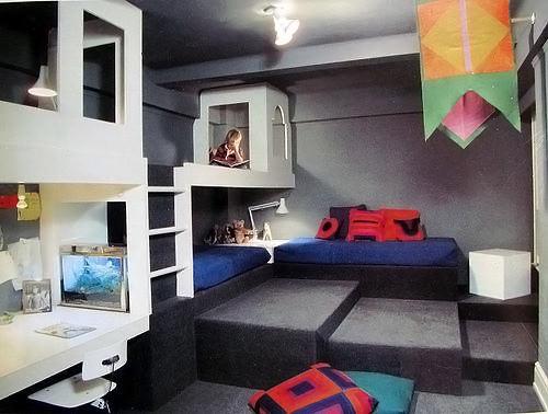 Built-In Bunk Bed in Vintage Kids Room via Wary Meyers