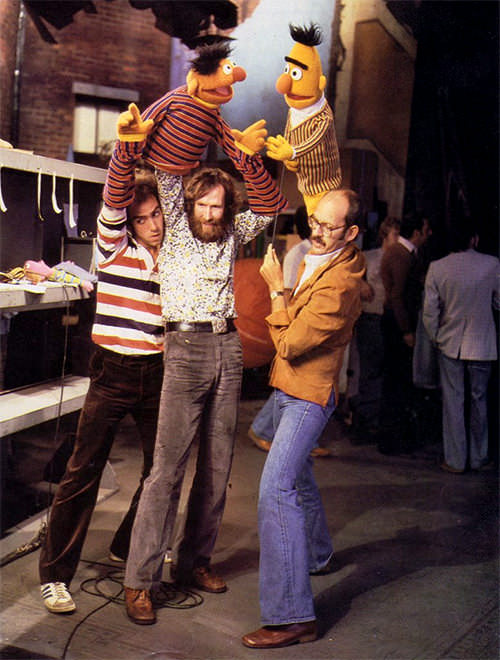 Jim Henson and Bert and Ernie Muppets