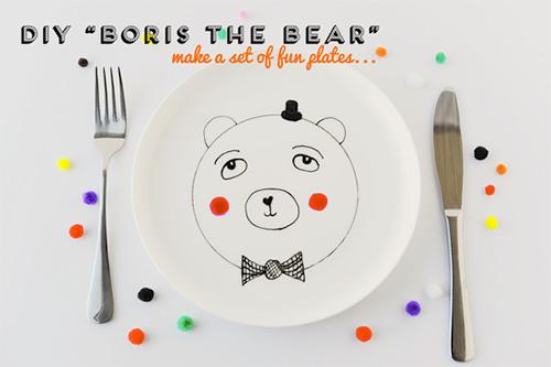 diy boris the bear fun plate