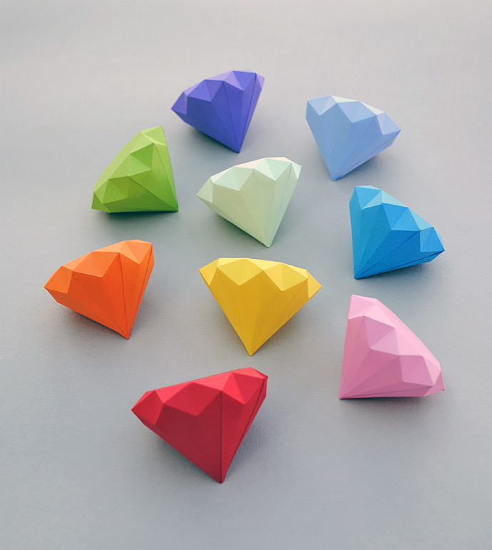 3d paper diamonds by mini-eco