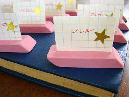 DIY Eraser Place Cards