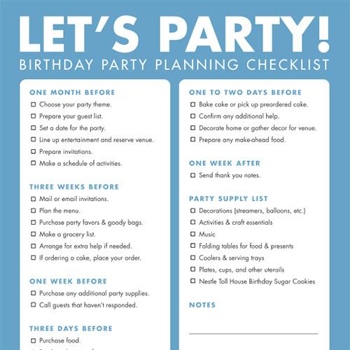 DIY Printable Birthday Party Checklist