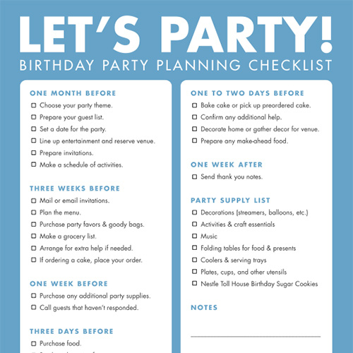 party planner schedule