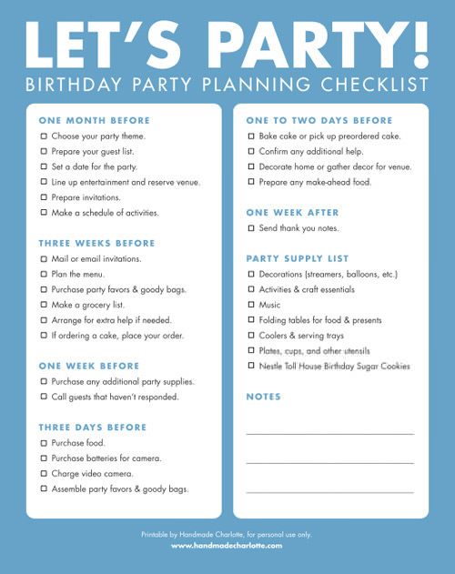Diy Printable Birthday Party Checklist