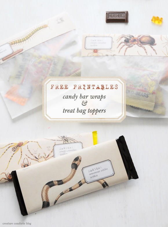 Free Printable Halloween Candy Bar Wraps and Treat Bag Toppers by Creature Comforts