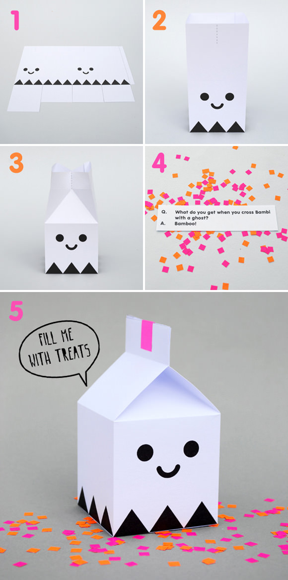 printable halloween ghost treat boxes by mini eco - Diy Halloween Projects