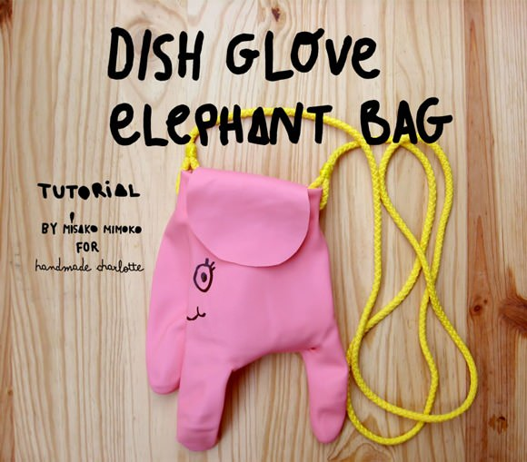 DIY Dish Glove Elephant Bag by Misako Mimoko
