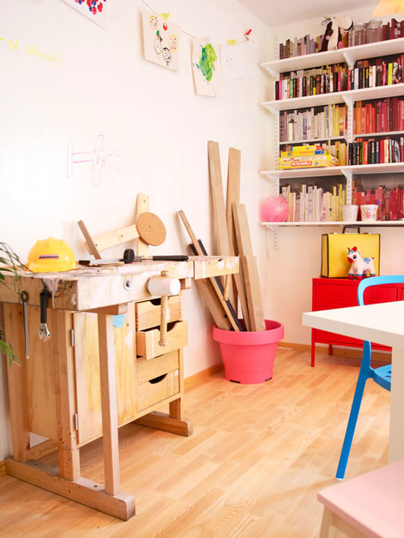 Craft space for kids with carpenter bench