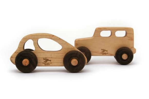 Wooden Toy Car and Truck Set via Etsy