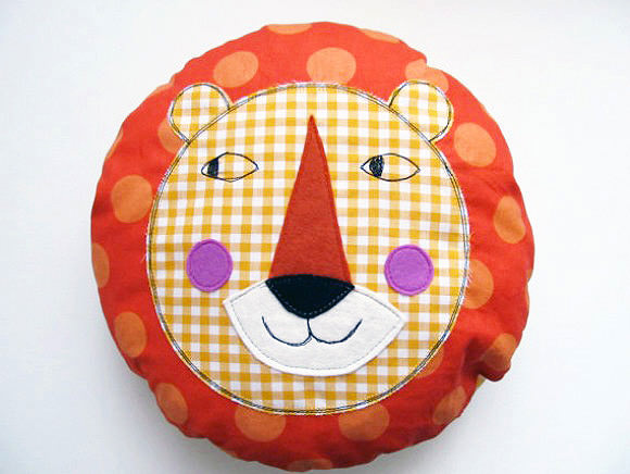 Curious Lion Pillow via Etsy