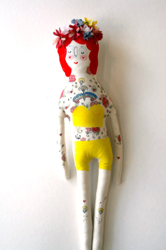 Painted Lady Circus Performer Art Doll via Etsy