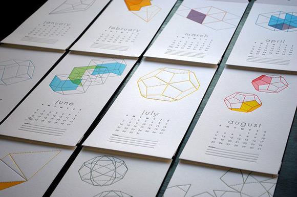 2013 Letterpress Wall Calendar from Paper Boat Studios on Etsy