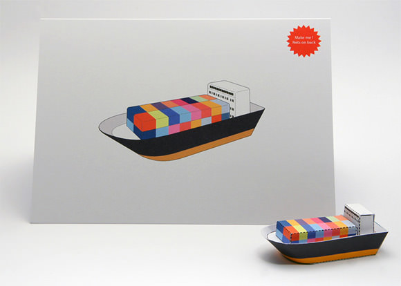 A card that folds into a toy cargo ship by Foldable Cuts - cool!