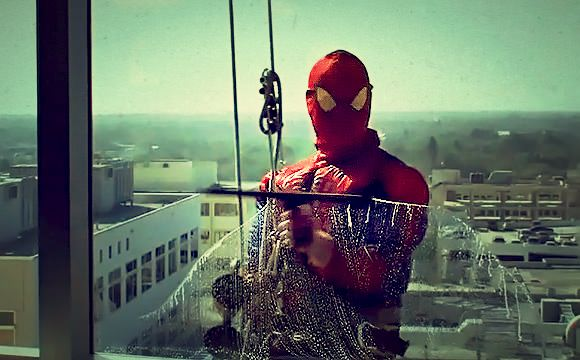 Window Washer Dressed Up As Spider-Man At Children's Hospital - so cool