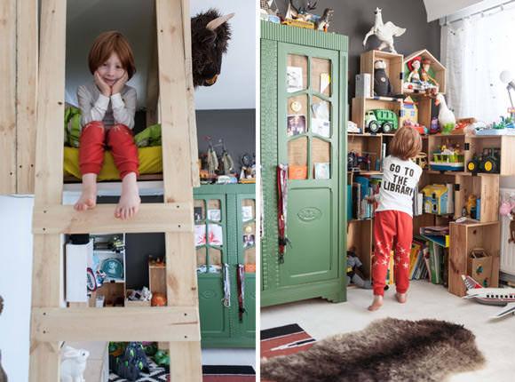 Fabulous loft bed in a boy's room in Belgium