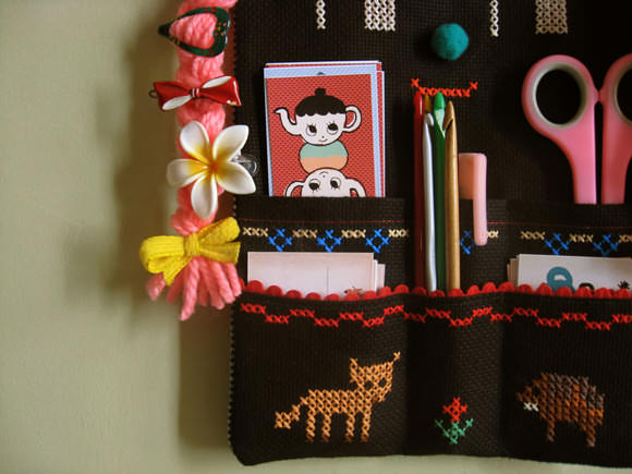 DIY Folksy Cross-Stitch Wall Organizer