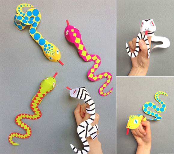 Printable Snake Finger Puppets from Mr Printables