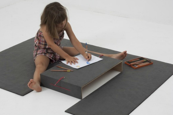 Play mat for kids with built in, folding table / desk