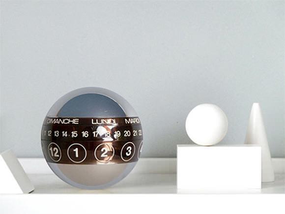 Space-age perpetual ball calendar, via Present&Correct