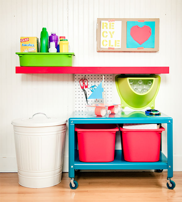 Diy recycling center for kids handmade charlotte for Homemade recycling projects