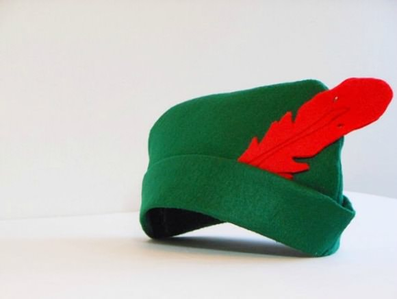 Eco-Felt Robin Hood Hat, available for $10 from Tiny Disguises on Etsy