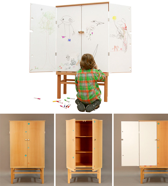 HIDE || SHOW, a cabinet for kids with drawing board hidden in the doors