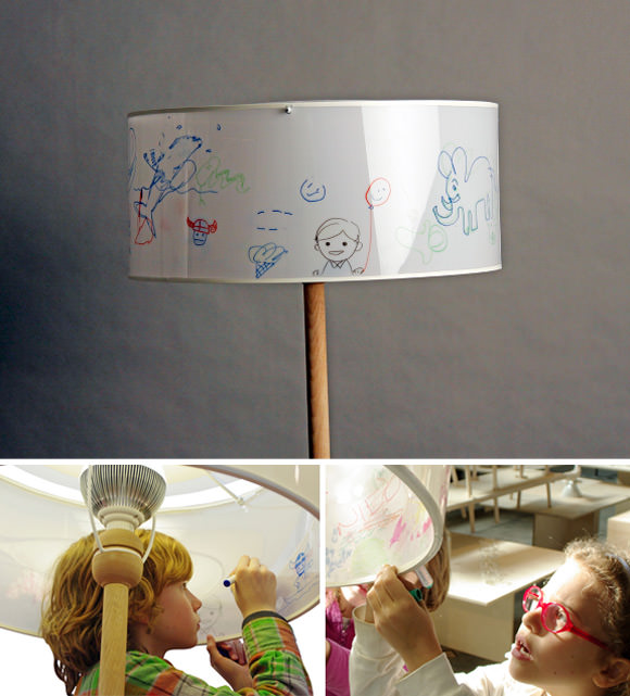 INSIDE-OUT, a floor lamp kids can decorate on both the inside and the outside