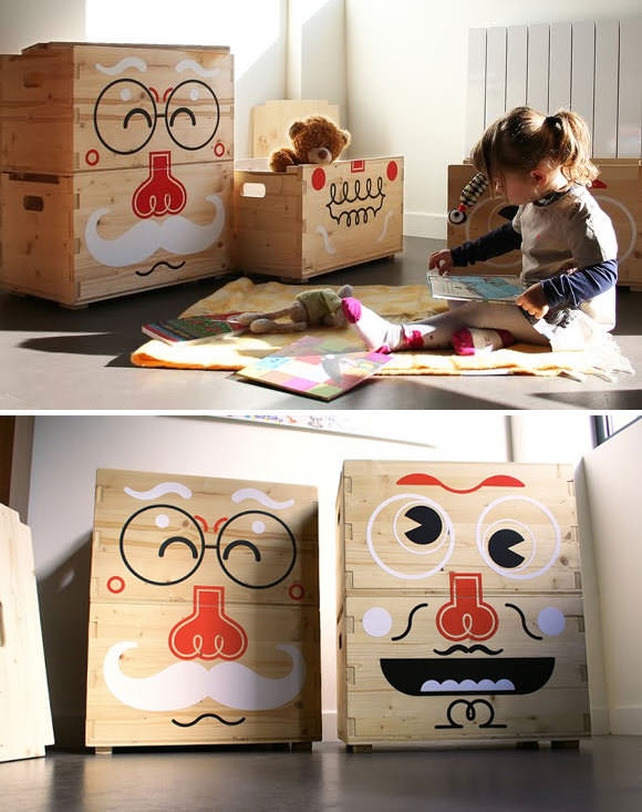 kids room storage pilou faces storage boxes by b design - Kids Room Storage Bins