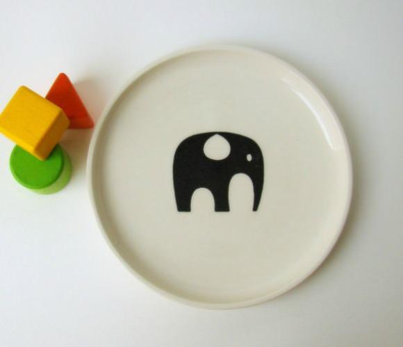 Elephant Plate for Kids by BOBO Ceramics