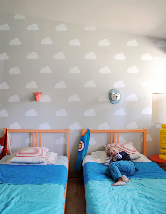 Cloud Kidu0027s Room With Handmade Charlotte Stencils By Mer Mag ...