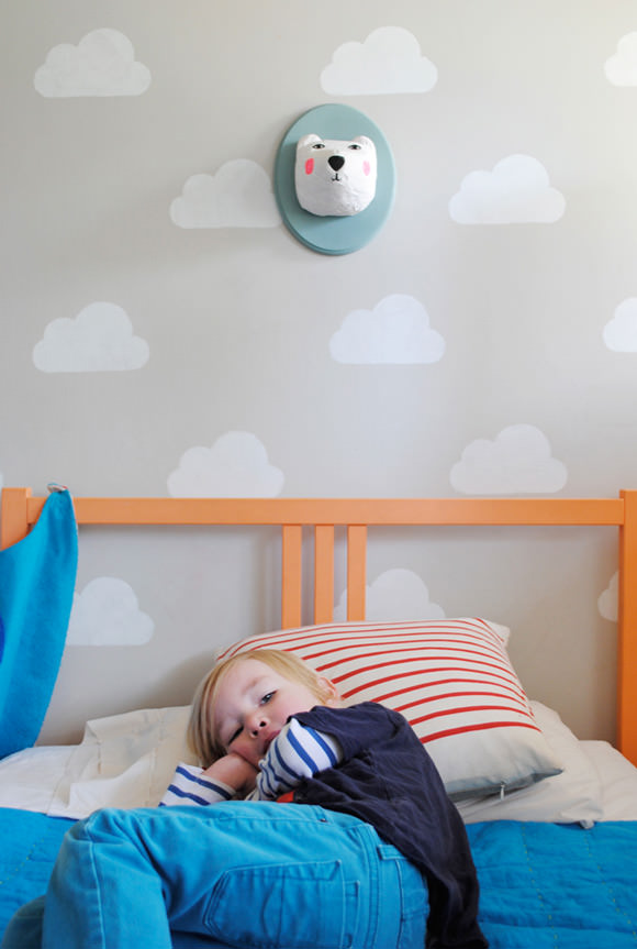 Cloud Kid's Room with Handmade Charlotte Stencils by Mer Mag