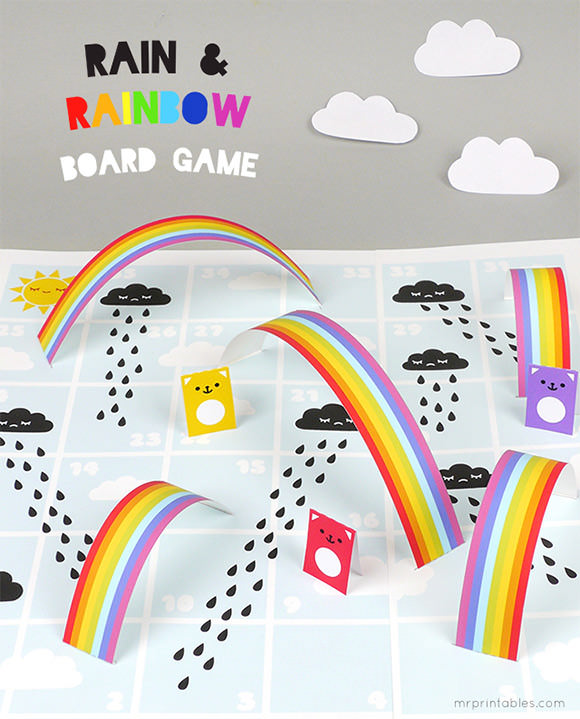 Free Printable Rain & Rainbow Board Game by Mr Printables