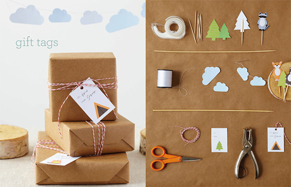 Go Camping! Printable Birthday Cake Toppers, Gift Tags, Cloud Garland, and Double Chocolate Recipe by Sweet Paul Magazine