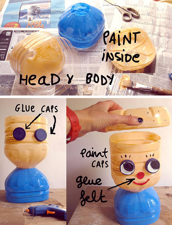 Diy recycled plastic bottle hairstyling doll handmade for Handmade things from waste material for kids step by step
