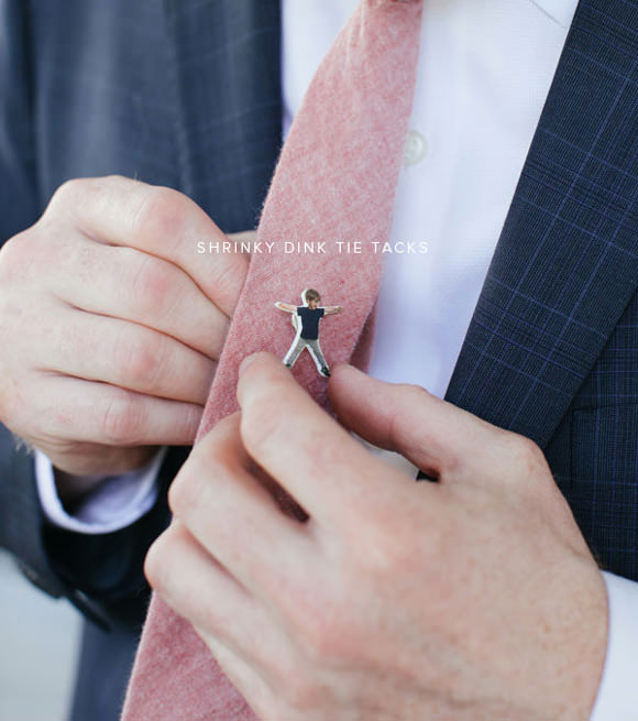 Coolest DIY Father's Day Gift Ever - DIY Shrinky Dink Tie Tacks by Oh Happy Day
