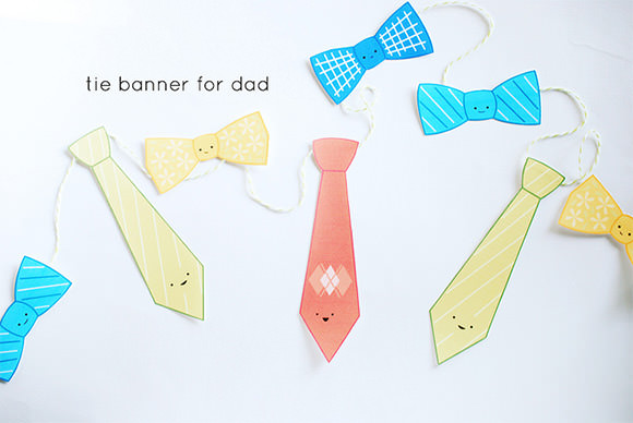DIY Father's Day - Printable Tie Banner by Wild Olive