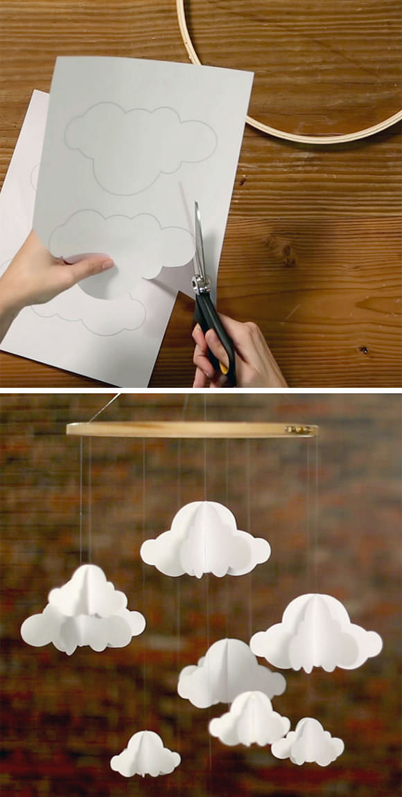 DIY Paper Cloud Mobile via HGTV