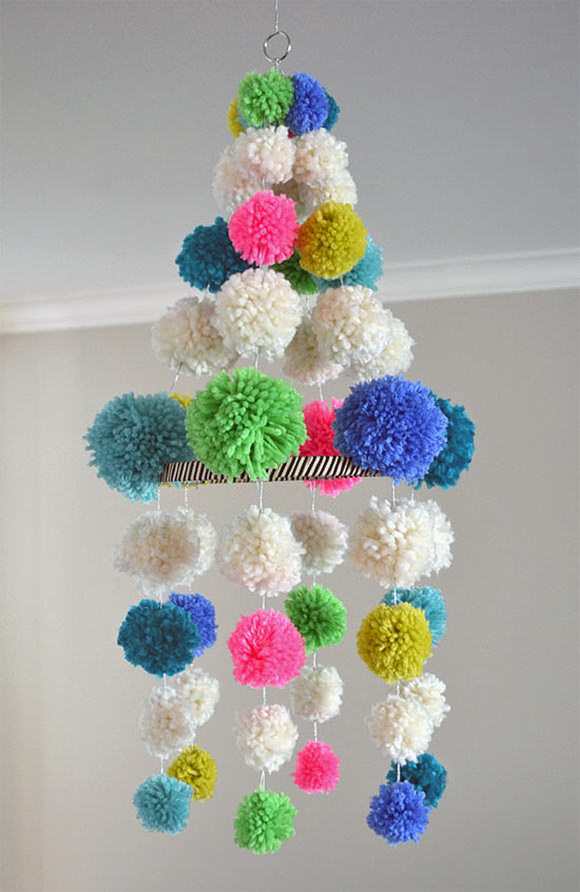 DIY Pom Pom Chandelier via Small for Big