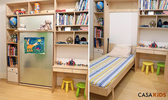 "Murphy Bed for Kids by Casa Kids- folds into a cabinet only 12"" deep!"
