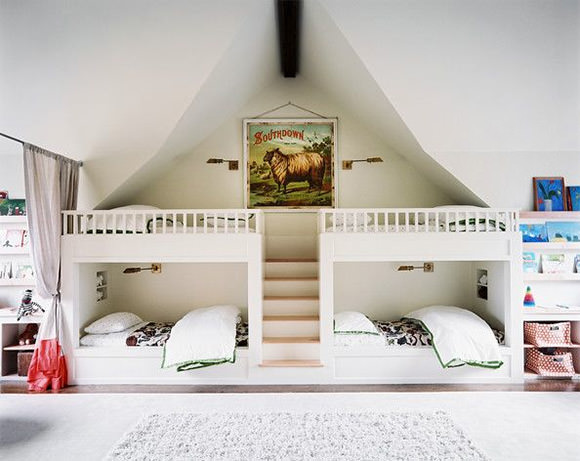 a quad of bunk beds in a bunk room for kids (via lonny magazine)